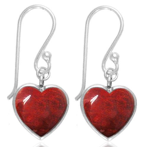 [NEA0242-SPC] Heart Shape Sponge Coral Drop Earrings