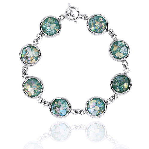 [NB1174-RG] Sterling Silver Chain Bracelet with 8 Round Roman Glass