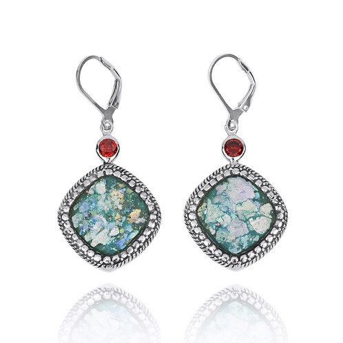 NEA2133-RG - Elegant SquareRoman Glass Earrings with Garnet CZ stones