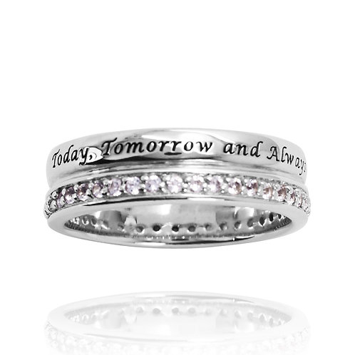 KRG2- CLASSIC 2 ROW RING WITH LASER ENGRAVING AND BIRTHSTONES