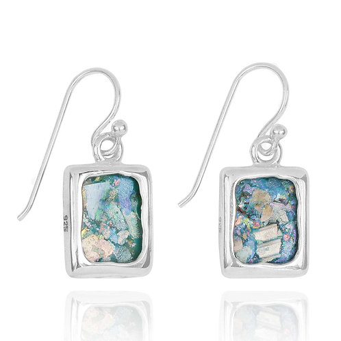 NEA3741-RG - Classic Square Hand Crafted style Roman Glass Earrings