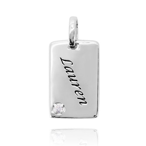 KPG68 - RECTANGLE SILVER PENDANT WITH BIRTH STONE AND NAME ENGRAVED