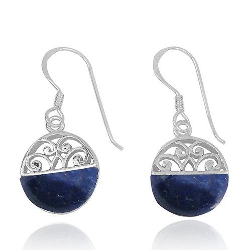 NEA2188-LAP -  Half Dome Shape Lapis Lazuli Ethnic Style Earrings