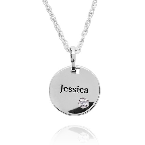 KPG66 - Round Silver Pendant with Name Engraved and Birthstone