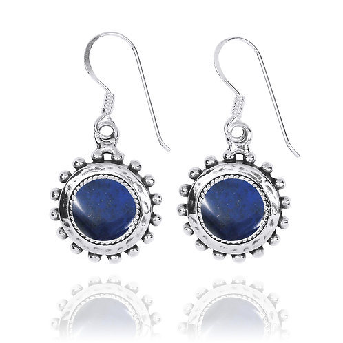 NEA3756-LAP - Round Spiked Earrings with Lapis Lazuli