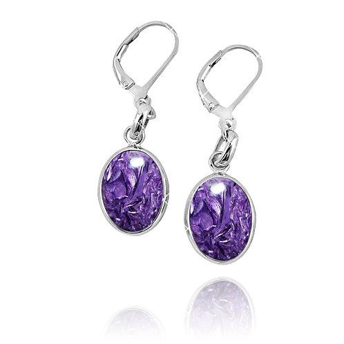 NEA3054-CHR - Elliptic Elegant Charoite Earrings