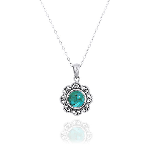 NP12223-GRTQ - Elegant Flower Silver Pendant with a Round Turquoise Piece