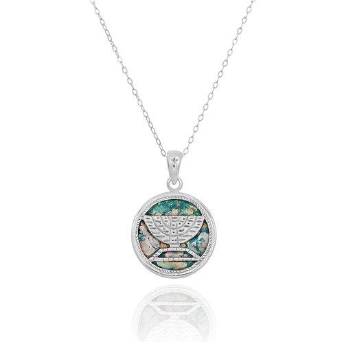 "NP11831-RG - Round "" Menorah "" Roman Glass Pendant"