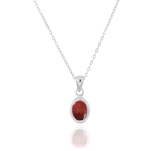 NP12337-SPC - Classic Oval Silver Pendant with a Sponge Coral Piece