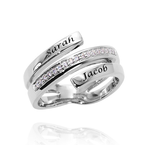 KRG3 - INFINITI COUPLE SILVER RING WITH NAME ENGRAVING AND BIRTHSTONES