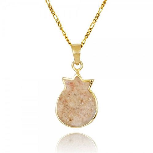 [NP12720-JRSL-14K] Gold Pomegranate Pendant with Jerusalem Stone