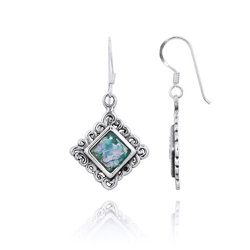 NEA3758-RG- Elegant Square Roman Glass Earrings with Filigree Design