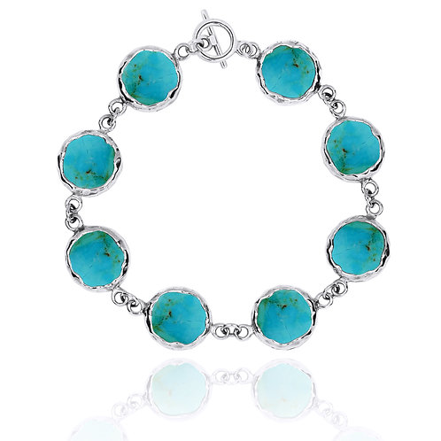 [NB1174-GRTQ] Sterling Silver Chain Bracelet with 8 Round Turquoise
