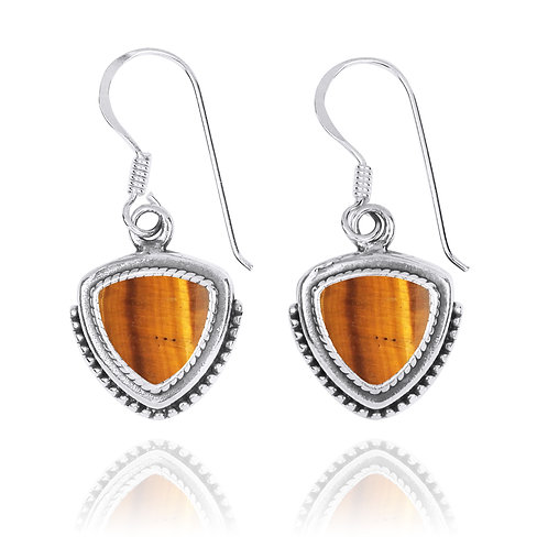 NEA3772-BRTE - Classic Pointy Triangle Earring with Tiger Eye Stones