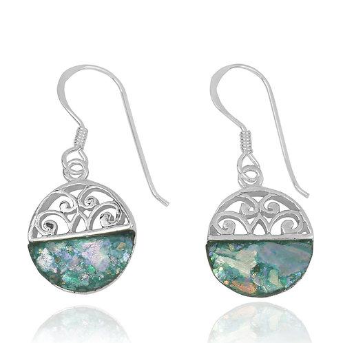 NEA2188-RG -  Half Dome Shape Roman Glass Ethnic Style Earrings