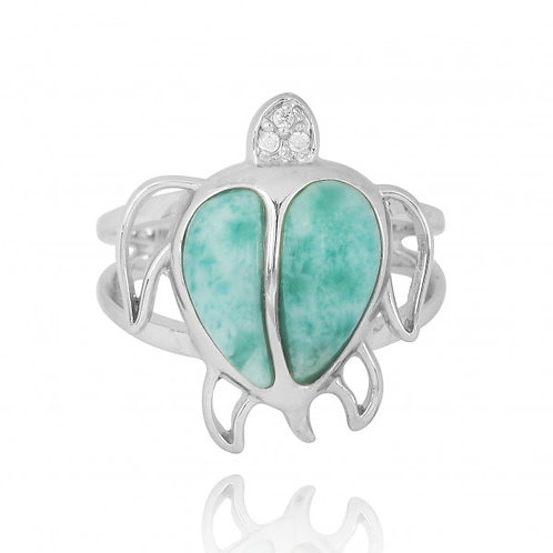 [NRB7783-LAR-WHCZ] Sterling Silver Turtle Ring with Larimar and White CZ  0 Revi