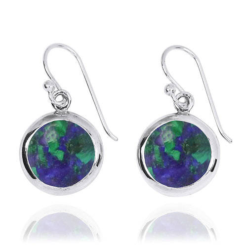 NEA3713-AZM- Classic Round Earrings with Azurite Malachite Stones
