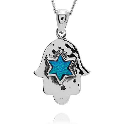 NP11617-BLOP -Classic Hamsa Pendant with S Blue Opal Star of David