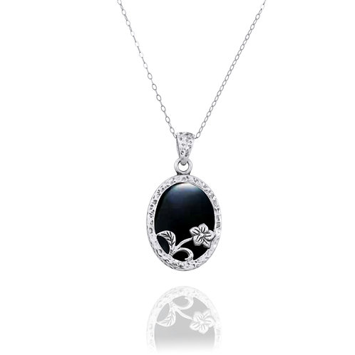 NP8166-BKON - Elegant Oval Flower Design Silver Pendant with Black Onyx