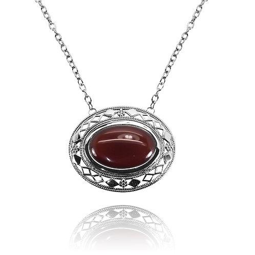 RSN0192-CAR - Sterling Silver Carnelian Necklace - Gemstone Jewelry