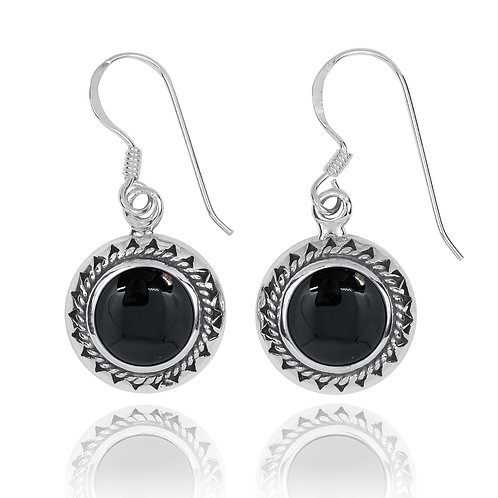 NEA3767-BKON - Elegant Retro Round Earring with Black Onyx Stones