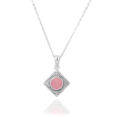 NP12361-PPKOP- Ethnic Square Design Silver Pendant with a Round Peru Pink Opal P