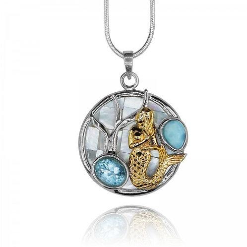 [KPG17-LAR] Round shape larimar with swiss blue topaz , mermaid , round mothe