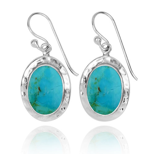 NEA3724-GRTQ- Oval Classic Earrings with Turquoise Stone