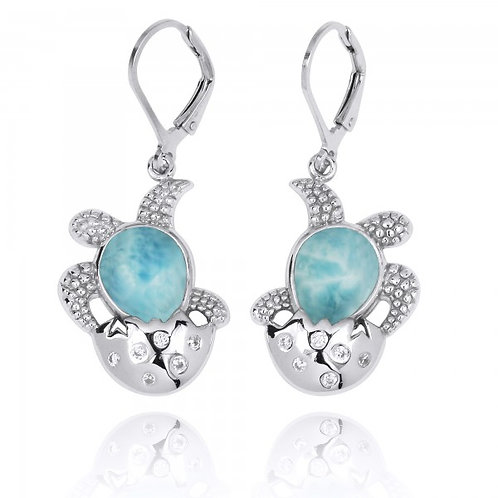 [NEA3105-LAR-WHCZ] Sterling Silver Egg and Turtle with Larimar Lever Back Earrin