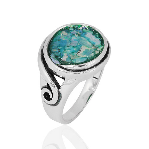 NRB8802-RG-  Round Shape Roman Glass Elegant Contemporary Ring