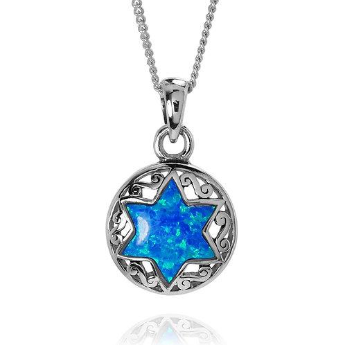 NP2801-LTBLOP - Unique S Blue Opal Star Of David Pendant