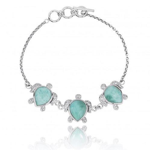 [NB1451-LAR] Triple Turtle with Larimar Sterling Silver Bracelet