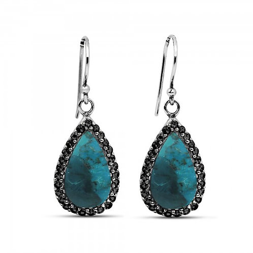 [NEA3011-GRTQ-BKSP] Pear Shape Compressed Turquoise Drop Earrings