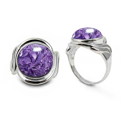 [NRB6617-CHR] Sterling Silver Ring with Round Charoite