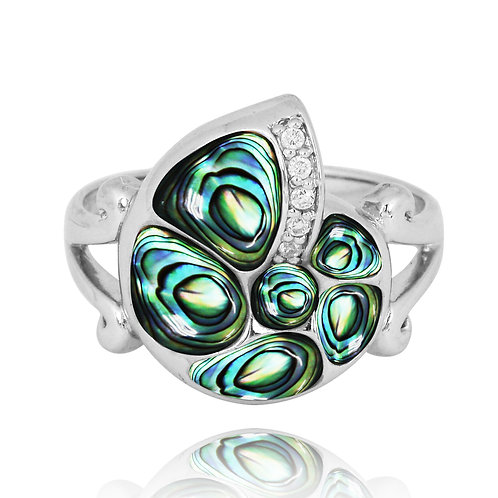 [NRB7220-ABL-WHCZ] Sterling Silver Seashell Ring with Abalone  and Whi