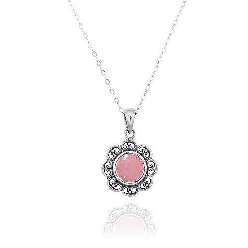NP12223-PPKOP - Elegant Flower Silver Pendant with a Round Peru Pink Opal Piece