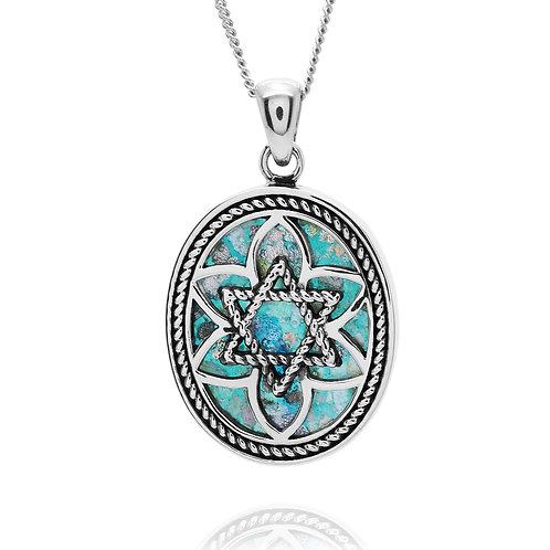 NP11799-RG - Sterling Silver Roman Glass Pendant - Gemstone Jewelry