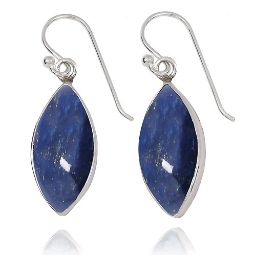 NEA3717-LAP - Classic Marquise Shape Earrings with Lapis Lazuli