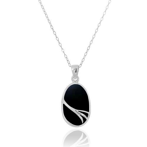 NP7090-BKON - Oval Silver Pendant with Black onyx