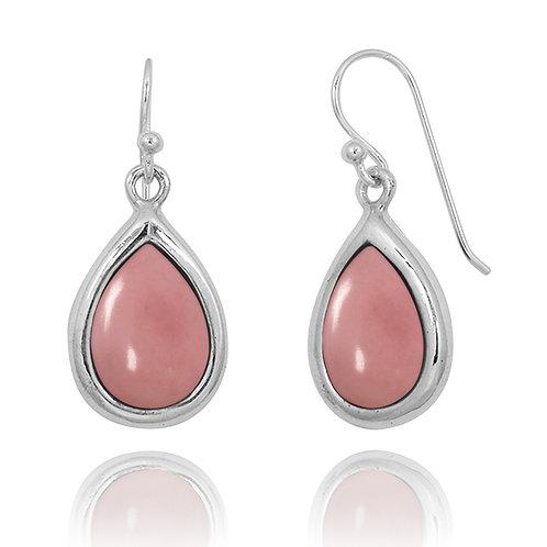NEA3266-PPKOP- Elegant Pear Shape Peru Pink Opal Earrings