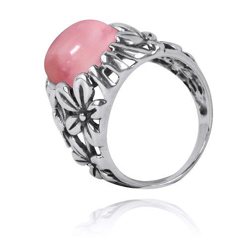 NRB6067-PPKOP - Elegant Flower Design Ring with Peru Pink Opal