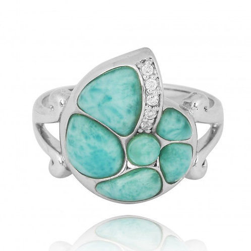 [NRB7220-LAR-WHCZ] Sterling Silver Seashell Ring with Larimar and White CZ