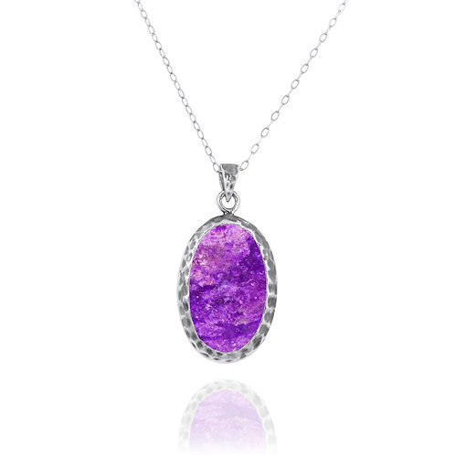 NP8139-SUG - Elegant Oval Silver Pendant with Sugilite