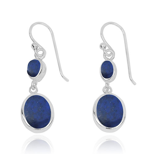 NEA3718-LAP - Elegant Dangling 2 part Earrings with Lapis Lazuli  Stones