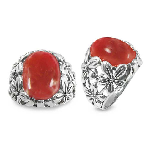 NRB6067-CAR- Elegant Carnelian stone ring - Flower Design