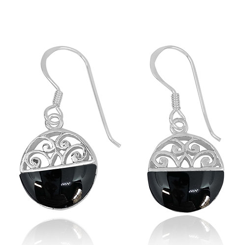 NEA2188-BKON -  Half Dome Shape Black Onyx Ethnic Style Earrings