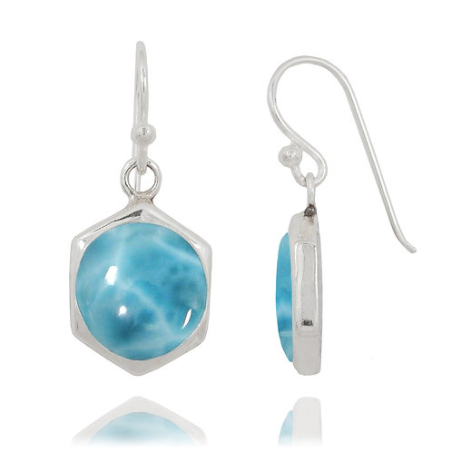 NEA3715-LAR -Classic Hexagon Earrings with Larimar stone