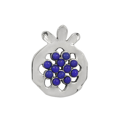 NP11906-LAP - Elegant Pomegranate  shape Silver Pendant with Lapis Lazuli Pieces