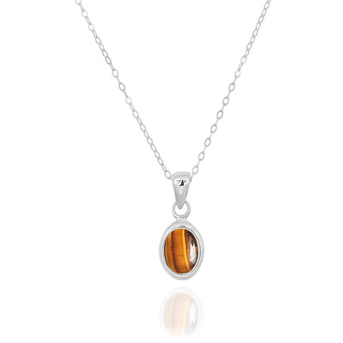 NP12337-BRTE - Classic Oval Silver Pendant with a Tiger Eye Piece