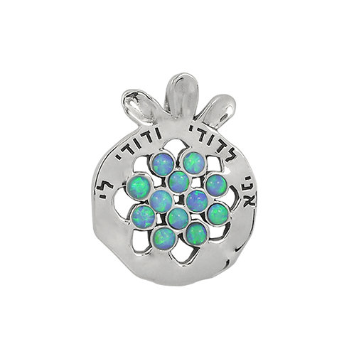 NP11908-BLOP - Elegant Pomegranate   Silver Pendant with Synthetic Blue Opal  Pi